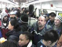packed train car